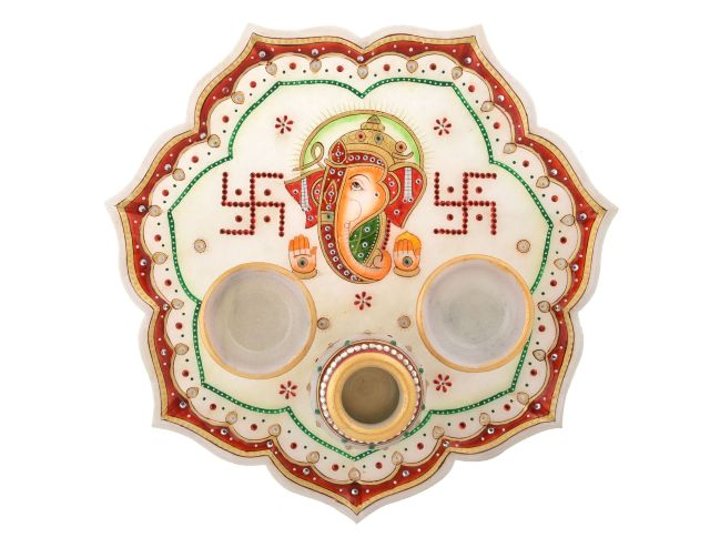 Marble Pooja thali with unique hand crafted design