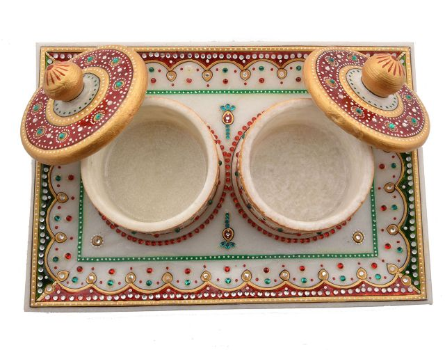 Marble tray, Hand crafted with Meenakari work