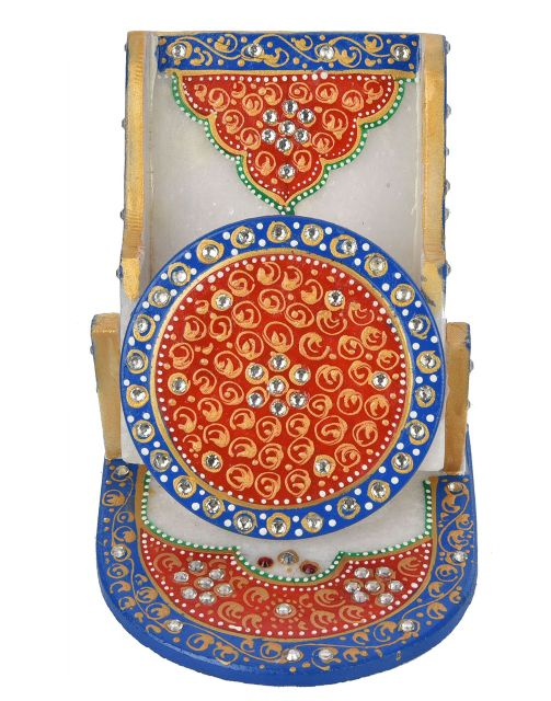 Marble crafted Mobile stand with Meenakari work