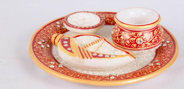 Marble Pooja thali with 3 items