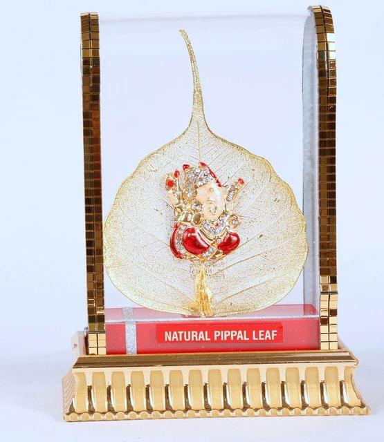 Hand crafted Natural Pepal leaf Ganesh with special cabinet