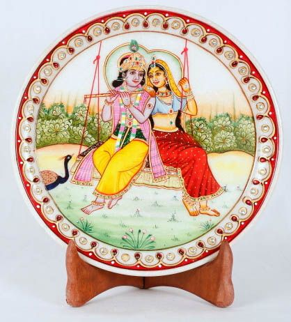 Radha Krishna Decorative plate  with stand