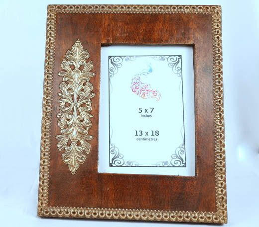 Handcrafted Photo frame , brass design on wood