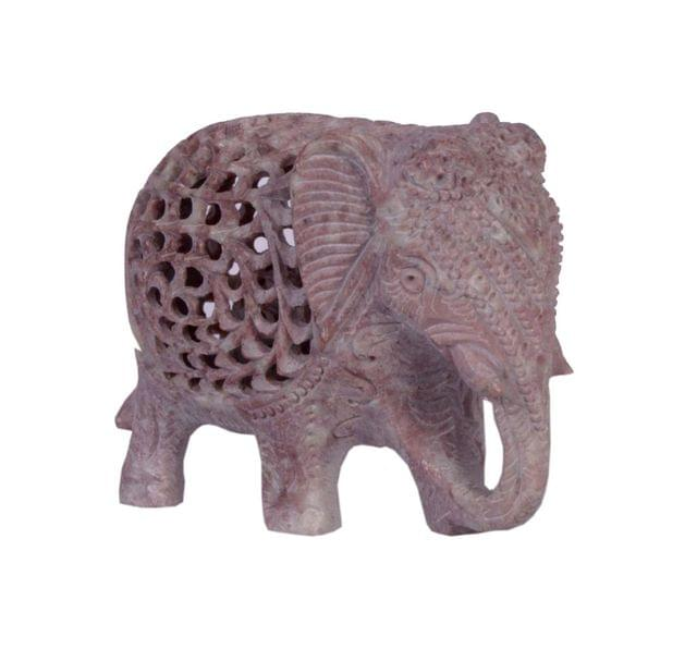 Soap Stone Elephant 3 inch Fine carved threecut