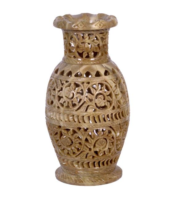 Soap Stone Carved Flower Vase  8 inch
