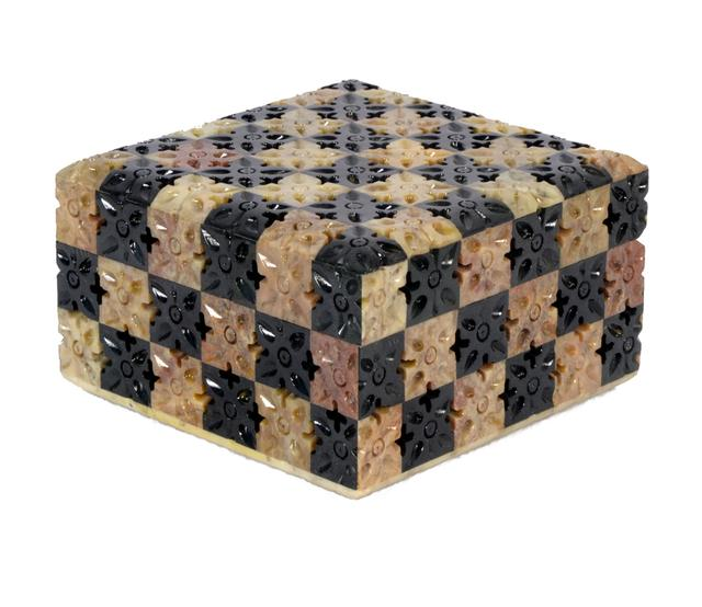 Soap Stone Carved Jewellery Box 4.5x4.5 inch chess style
