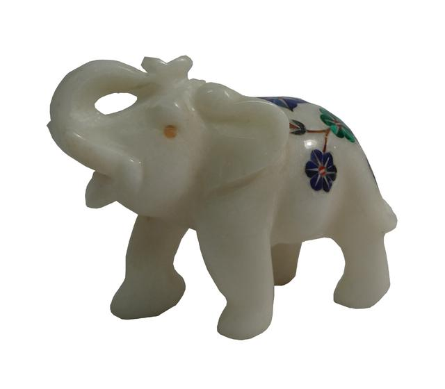 Marble Inlaid Elephant Trumpet 2.5 inch