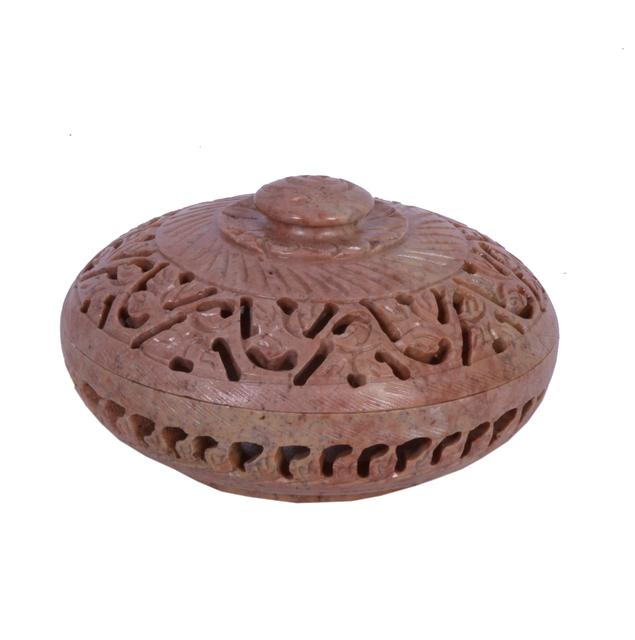 Soap Stone Carved Round Jewellery Box 4 inch