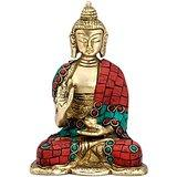 Collectible India Earth Touching Sitting Tibet Buddha Statue Brass Figurine Ha...