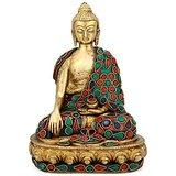 Collectible India Earth Touching Buddha Idol Tibet Buddha Brass statue-Buddhi...
