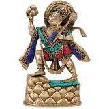 Collectible India Hanuman Brass Idol Hindu God Of Strength Statue-Indian hand...