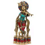 Collectible India Large Krishna Brass Idol Hindu God of Love divine Joy Statu...
