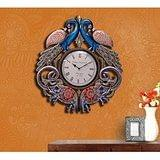 Collectible India Large Peacock Elephant Wall Clock Handmade Painted Wooden W...