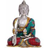 Collectible India Large Tall Buddha Statue - Silver Polish Metal Brass Sculpt...
