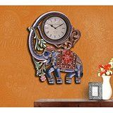 Collectible India Large Wall Clock Handmade Wooden Elephant Wall Clock Sculpt...