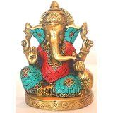 Collectible India Lord Ganesha Idol Brass Sculpture Hindu Deity Elephant Face...