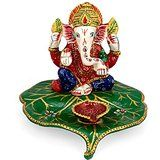 Collectible India Metal painted Ganesha Diya Oil Lamp For Puja Home D�cor Gif...