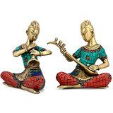 Collectible India Musical Group Lady Statue Brass Sculpture Home Decor & Clas...