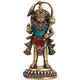 Collectible India Standing Hanuman Brass Idol Mythological Indian Hindu God H...