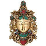 Collectible India Tara Buddha Wall Hanging Turquoise Wall Mask Large Art Deco...