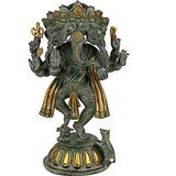 Collectible Large Antique Finish Brass Ganesha Panchmukhi Idol (LxBXH) (38.0 ...