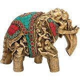Elephant Idol Brass Figurine Feng Shui Handcarved Figurine Animal Statue Elep...