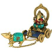 Ganesh Sitting on Chariot and Mouse Brass Sculpture Ganpati God Diwali Decor ...