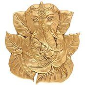 God Ganesha Leaf Wall Hanging Brass Figurine Lord Indian Deity Ganpati Ganesh...