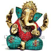 Gorgeous Taj Ganesh Ganesha Statue - Handmade Brass with Colorful Inlay Work ...