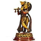 Krishna Statue Large Size 10 Inches - Made of Brass Metal - Antique Finish