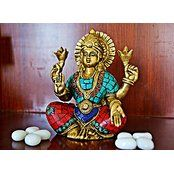 Lakshmi Idol Brass Sculpture Hindu God Statue Decor Gift