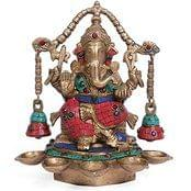 "Large 10"" Oil Lamp Ganesh Idol India Hindu God Figurine Ganesha Statue Brass ..."