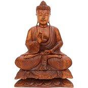 Large Dharma Chakra Buddha Statue Wood Handmade Sculpture Indian Teaching Buddha