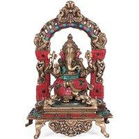 Large Shrine Ganesh Statue Hindu God Figurine Brass Turquoise Sculpture Diwal...