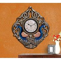 Large Wall Clock - wooden Peacock Wall Sculpture - Handcarved & Painted - Gre...