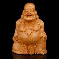 Laughing Buddha Statue Wooden Happy Buddha Idol Indian Home Decor Diwali Gifts
