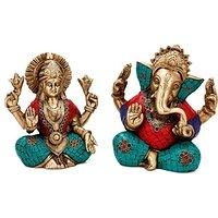 Lord Ganesh Laxmi Idols - Golden Multicolor - Seated Pose - Diety Laxmi Ganes...