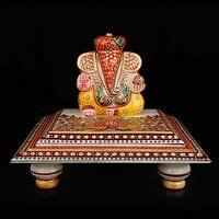 Marble Ganesh Idol Chowki puja articles Rajasthani Art Antique Colored & Ston...