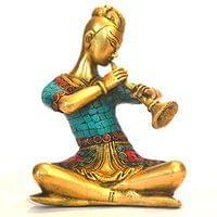Musical Lady Statue Arttist Classical Figurine Brass Sculpture Diwali Home De...
