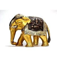 Unique Collectible Showpiece - Elephant Figurine with Shiva & Ganesha Carved ...