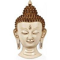 White Face Buddha Wall Hanging Resin Wall Mask, Office Decoration Gifts 12 In...