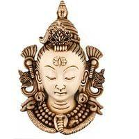 White Face Shiva Wall Mask Resin Wall hanging Decoration Sculpture Diwali Dec...