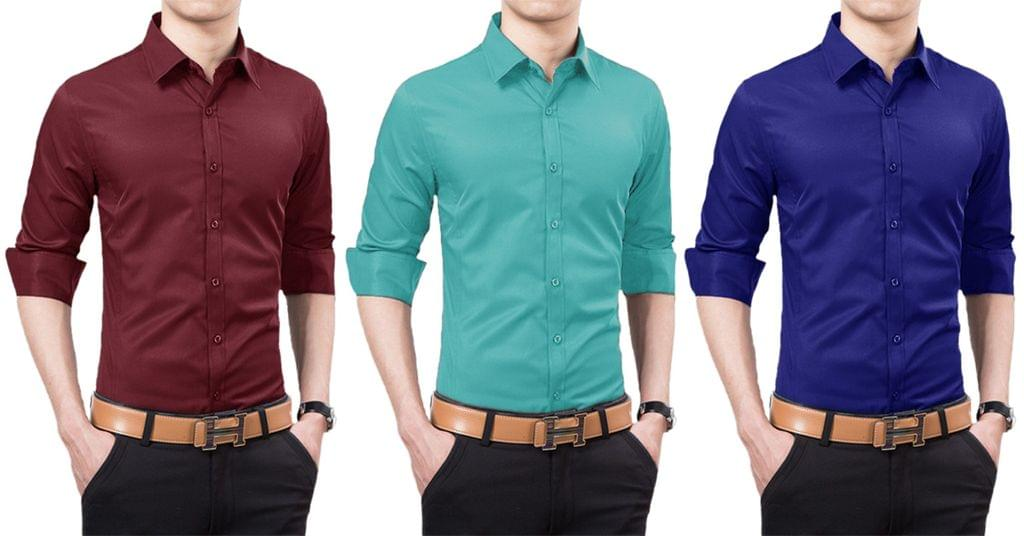 London Looks Men's Solid Shirts (Pack of 3)