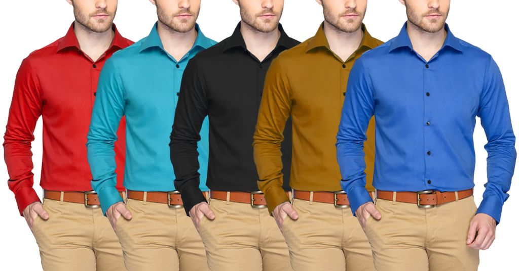Branded London Looks Set Of 5 Casual Solid Shirts!