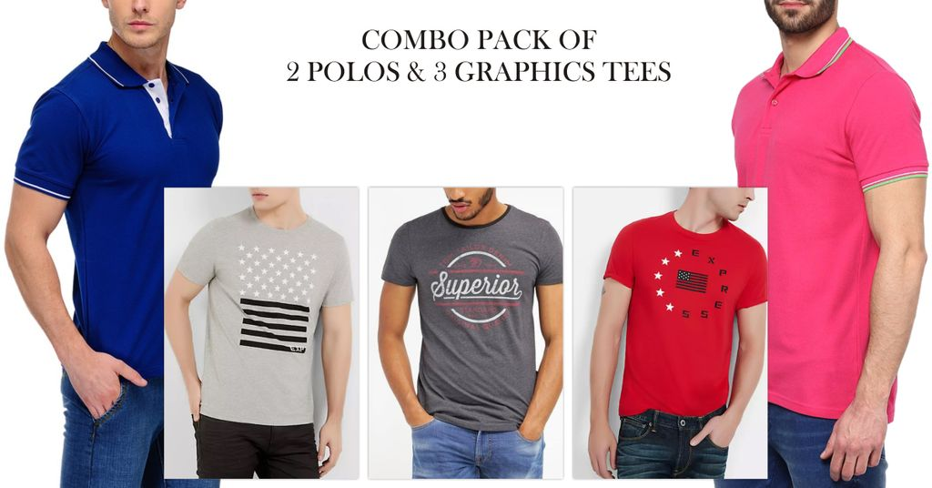 London Looks 3 Round Neck Graphic & 2 Polo T-shirt !