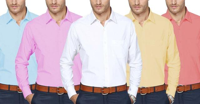 London Looks 5 Coloured Cotton Casual Shirts !