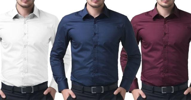 London Looks 3 Solids Cotton Casual Shirts !