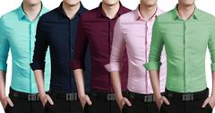 London Looks Men's Cotton Casual Regular-Fit 5 Solid Shirts!
