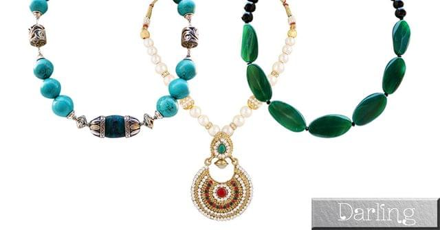 Darling Brand Combo Of 3 colorful Funky Style Stone Necklace Sets