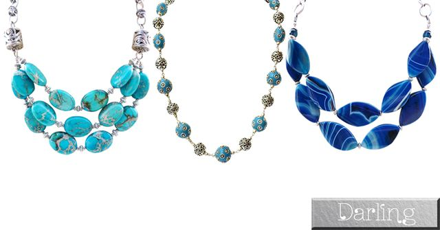 Darling Brand - 3 Colourful Funky Style Stoned Necklace Set !